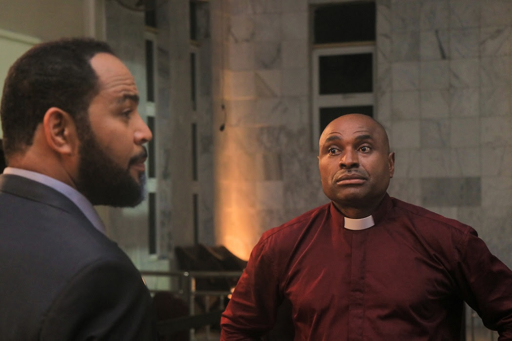 Ramsey Nouah and Kenneth Okonkwo in BTS of living in Bondage