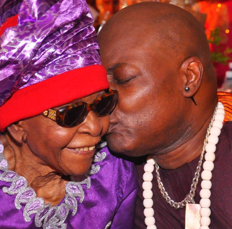 Charly Boy and his mum, Margaret Ntianu Oputa. Charly Boy shared this picture on Instagram to announce the passing away of his mum