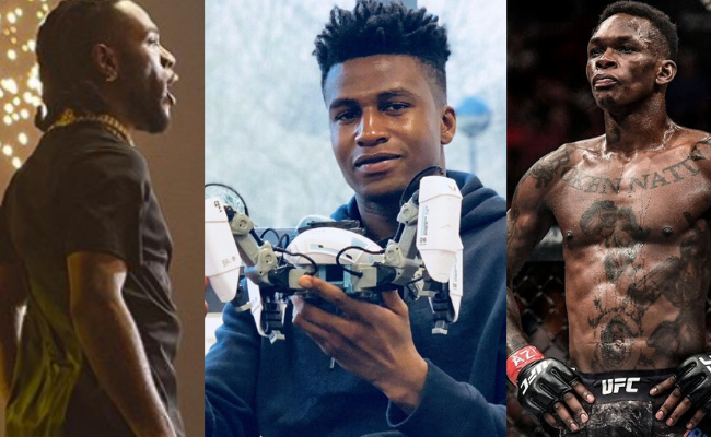 Collage of images of Burna Boy, Israel Adesanya and Silas Adekunle for International Men's Day cover for video