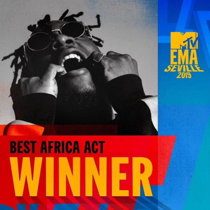 Poster showing Burna Boy as the winner of MTV EMA Best Africa Act