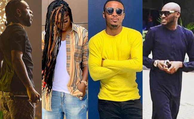 Collage of images showing some past winners of MTV EMA Best African Act winners. L-R: Burna Boy, Tiwa Savage, Ali Kiba, Innocent Idibia aka 2Baba