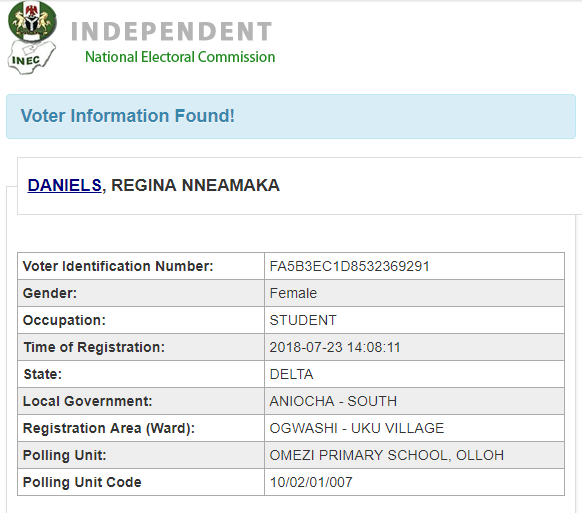 Regina Daniels real age and date of birth from INEC registration