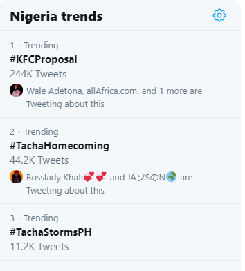 Nigeria trends showing Tacha on sencon and third positions