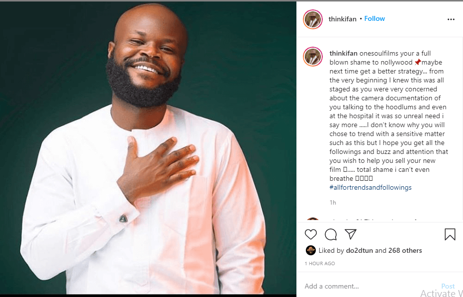'You are a full blown shame to Nollywood' - Filmmaker, Ifan Ifeanyi tells Ideh Chukwuma over his comments about the Lekki toll gate massacre