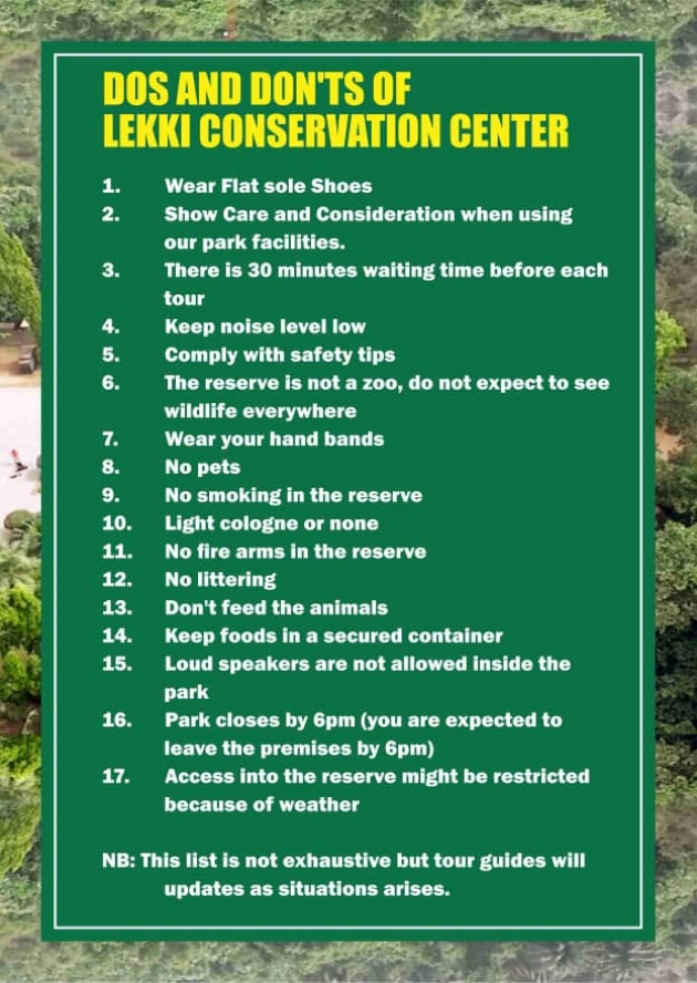 Dos and Don'ts of lekki conservation centre